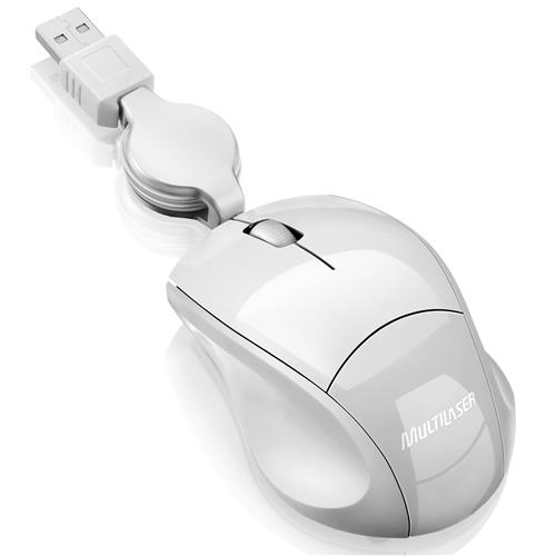 Mouse Óptico Retrátil 800Dpi Usb Branco Mo155 Multilaser