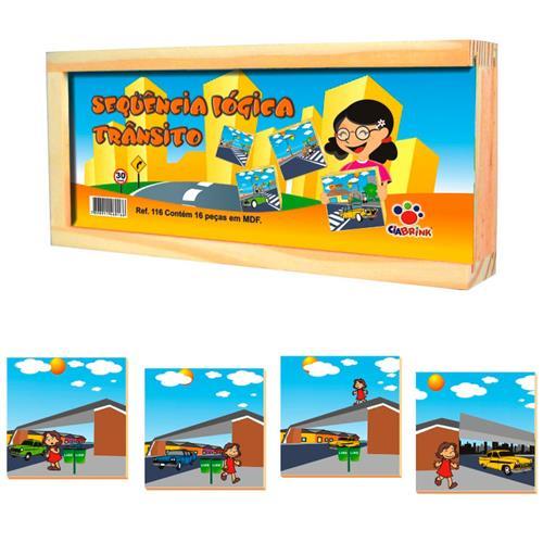 Brinquedo Sequência Lógica Transito Madeira 16 Peças Ciabrink