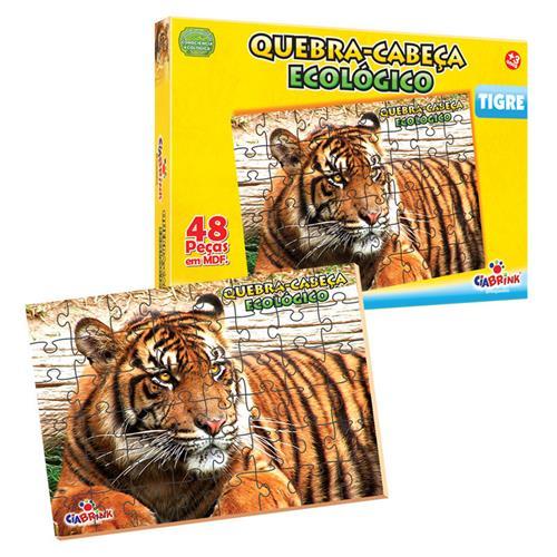 Quebra Cabeça Ecológico Tigre Madeira 48 Pçs 1349 Ciabrink
