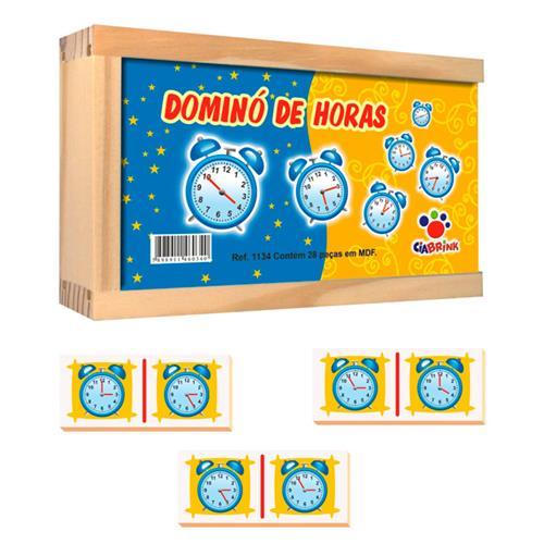 Dominó Desenho Horas Madeira 28 Peças M.D.F 1134 Ciabrink