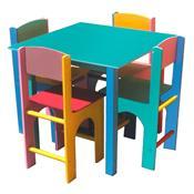 Mesa Infantil Quadrada Colorida 4 Cadeiras 1051 Ciabrink