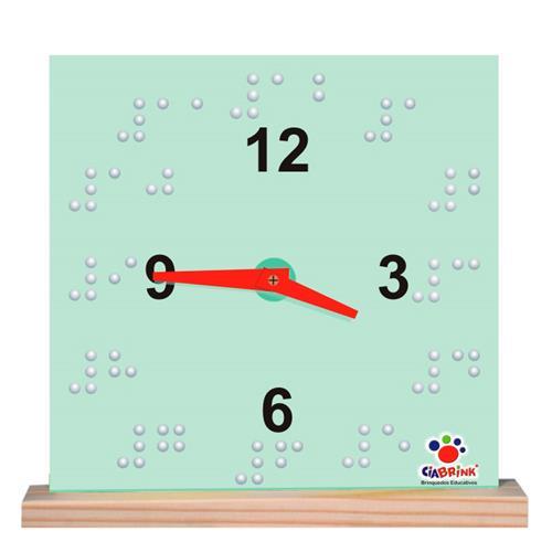 Relógio Braille Madeira 02 Peças Placa MDF 1522 Ciabrink