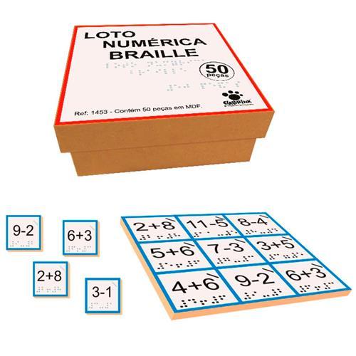 Jogo Loto Numérica Braille Madeira 50 Peças 1453 Ciabrink
