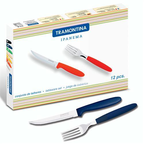 Conjunto De Talheres 12 Pçs Ipanema Azul 23399160 Tramontina