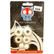 Kit Com Amortecedor Para Skate 92A Branco Owl Sports