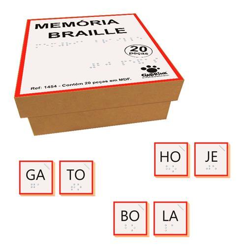 Jogo Memória Silabas Braille Madeira  20 Peças MDF Ciabrink