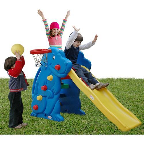 Escorregador Com Cesta Basquete Polietileno Alpha Brinquedos
