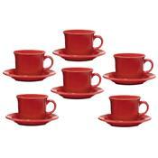 6 Xícaras Para Chá Com Pires Daily Floreal Red Jm21-6017 Oxford