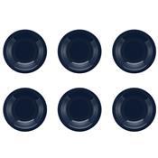 Conjunto Com 6 Pratos Fundos 23cm Floreal Denim Jm14-6028 Oxford