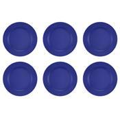 Jogo 6 Pratos Rasos Donna Azul 24cm Am12-5012 Biona