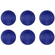 Jogo 6 Pratos Fundos Donna Azul 22cm Am14-5012 Biona