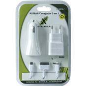 Kit Carregador 3 Em 1 Micro Usb Doc Branco Xc-Mc3x1 X-Cell