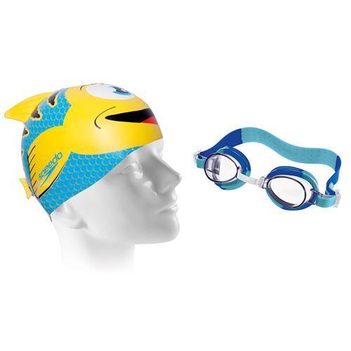 19dd4a86c Kit Para Natação Touca E Óculos Fish Infantil Amarelo U Speedo na ...