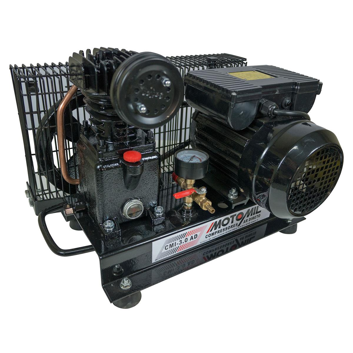 9b59ef72fd99c0 Compressor De Ar Direto Com Motor 1Hp 4p Bivolt CMI-3.0AD Motomil na  Estrela10