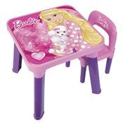 Conjunto Mesa Com Cadeira Infantil Da Barbie 6926-9 Fun