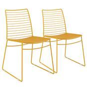 Kit 2 Cadeiras Em Couríssimo Amarela Ouro 1712 Móveis Carraro