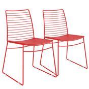 Kit 2 Cadeiras Em Couríssimo Vermelha Real 1712 Móveis Carraro