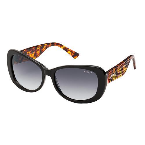 a838a6635 Óculos De Sol Feminino Preto Brilho E Marrom Demi Colcci na Estrela10