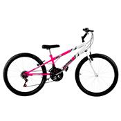 Bicicleta Rebaixada Aro 26 18 Marchas Rosa E Branca Pro Tork Ultra
