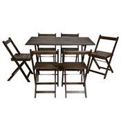 Conjunto Dobrável Gourmet 6 Cadeiras Tabaco Entalharte