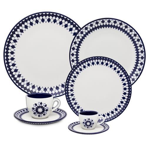Aparelho De Jantar 42 Peças Branco E Azul Coup Chess Oxford Na Estrela10