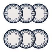 Conjunto 6 Pratos Fundos 23Cm Floreal Energy Branco E Azul Oxford