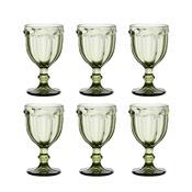 Jogo 6 Taças De Vidro Para Água 260Ml Verde Borboleta Bon Gourmet