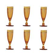 Jogo 6 Taças Para Champagne 120Ml Âmbar Bico De Jaca Bon Gourmet