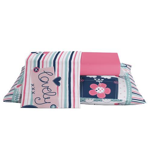 5d8e6b5417 Jogo Cama Infantil Solteiro Katty 1 Rosa Royal Plus Santista na ...