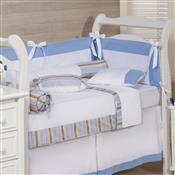 Kit Para Berço 11 Peças Charisma Splendor Branco E Azul Plumasul