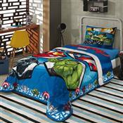 Edredom Infantil Solteiro Azul Estampado Avengers 150X200cm Lepper