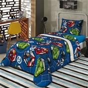 Edredom Infantil Solteiro Azul Estampado Avengers 150X220cm Lepper