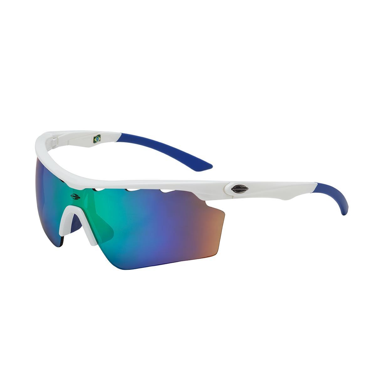0b7eb406f48b5 Óculos De Sol Athlon V Branco Brilho Lente Espelhada Verde Mormaii na  Estrela10