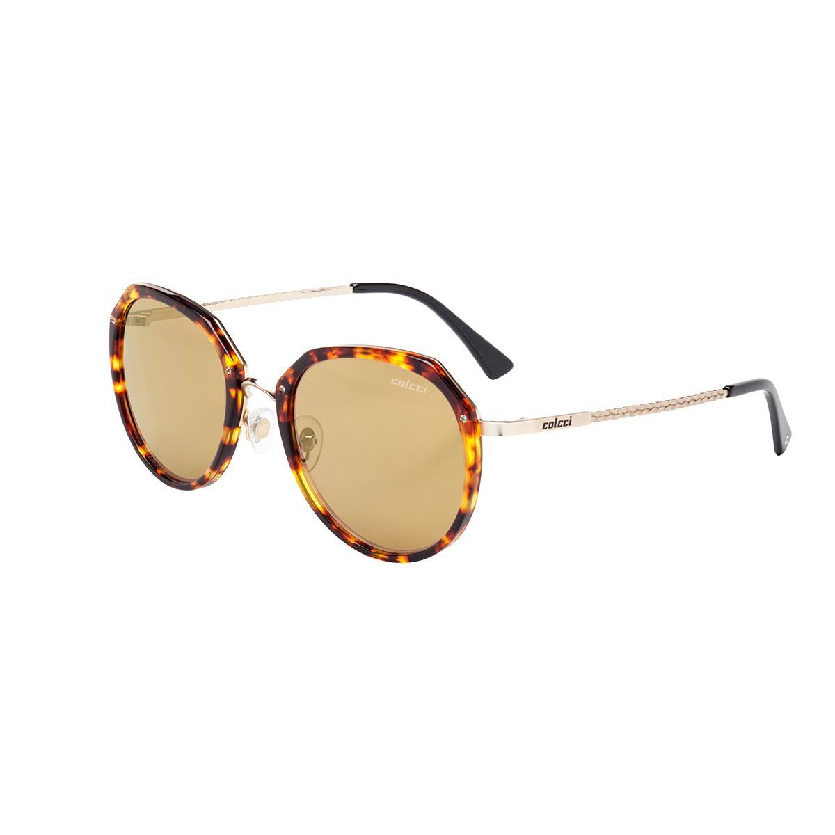 38dd0cc3c Óculos De Sol Demi Marrom Brilho E Preto C0111f3408 Colcci na Estrela10