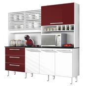 Armário De Cozinha Zanzini Mega 6 Portas 3 Gavetas Branco E Bordô