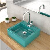 Cuba De Apoio Para Banheiro Compace Julia Q35w Quadrada Azul Turquesa