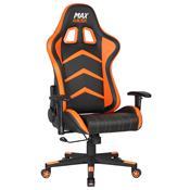Cadeira Gamer Max Racer Aggressive Reclinável Preto/Laranja