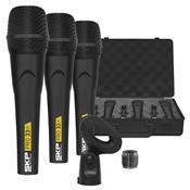 Jogo 3 Microfones Profissionais Skp Pro33k Com Fio 600 Ohms