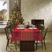 Toalha De Mesa Retangular Lepper Natal 10 Lugares Rendada Vermelha