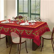 Toalha De Mesa Retangular Lepper Natal Estampada 6 Lugares Vermelha