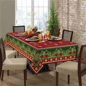 Toalha Mesa Retangular Lepper Natal Impermeável 8 Lugares Vermelha