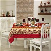Toalha De Mesa Retangular Lepper Natal Corações 6 Lugares Vermelha