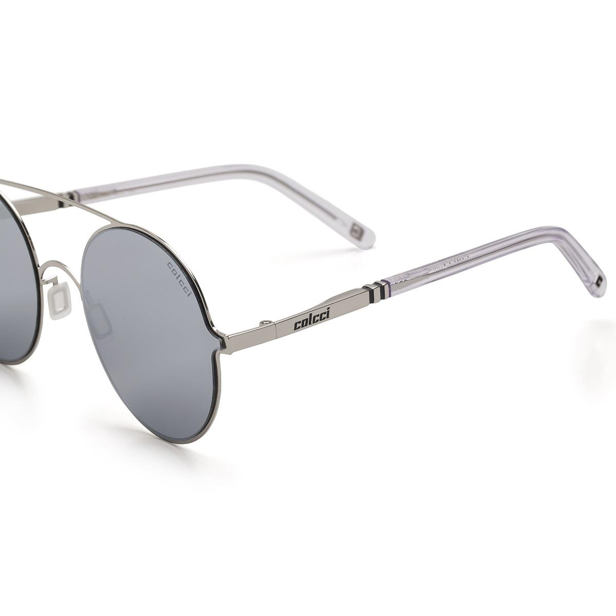 1469311e998d7 Óculos De Sol Colcci C0100 Prata Brilho Translúcido Lente Cinza na Estrela10