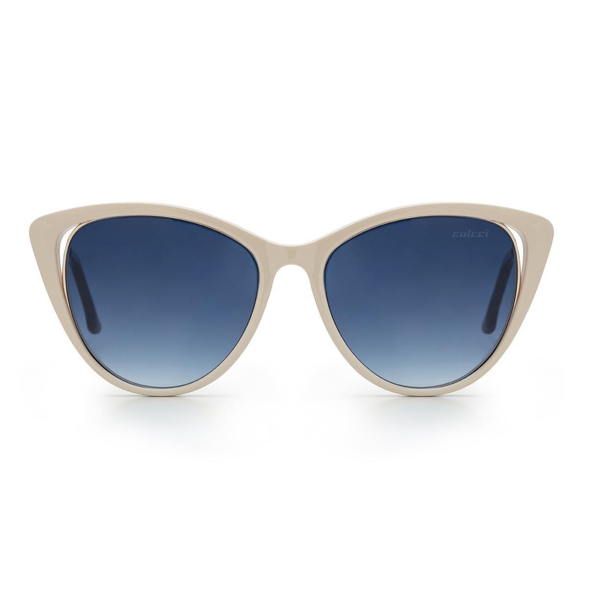 92278d353 Óculos De Sol Colcci Valentina C0123 Branco Off White Lente Azul na  Estrela10