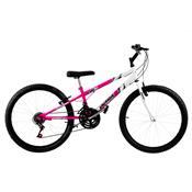 Bicicleta Rebaixada Ultra Bikes Bicolor Aro 24 18 Marchas Rosa/Branca