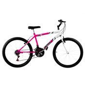 Bicicleta Ultra Bikes Bicolor Aro 24 18 Marchas Rosa E Branca