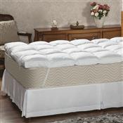 Pillow Top Casal Plumasul Fibra Siliconada Percal 233 Fios Branco