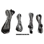 Kit 4 Cabos Para Fonte Corsair CP-8920149 Sleeved Branco E Preto