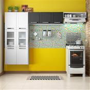 Cozinha Compacta Bertolini Múltipla 9 Portas Branca/Preta Com Vidro