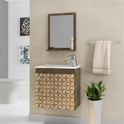 Kit Gabinete Para Banheiro Móveis Bechara Siena Madeira 3drústica
